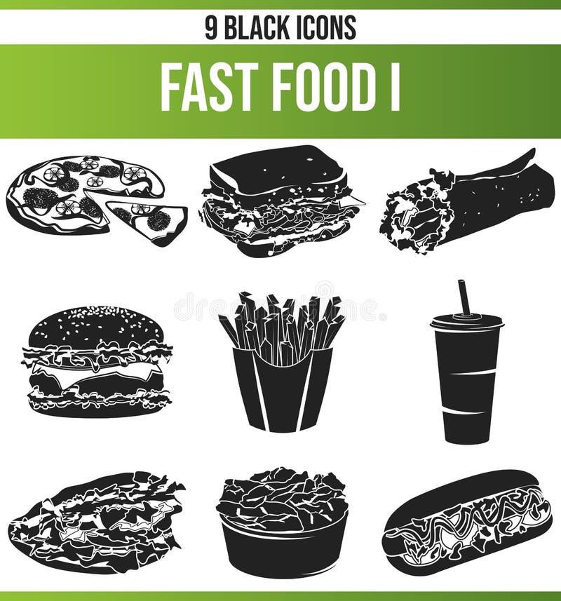 Czarnej ikony Ustalony fast food Ja ilustracja wektor