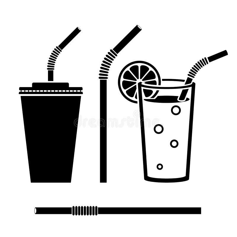 Czarnej ikony ustalony napój ilustracji