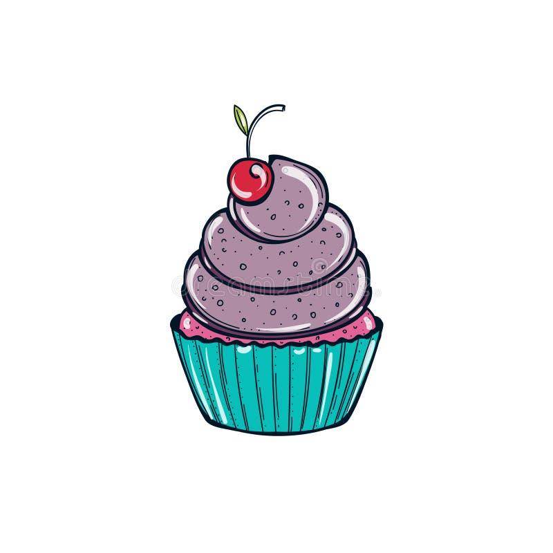 Czarnej jagody babeczka z małą wiśnią ilustracja wektor