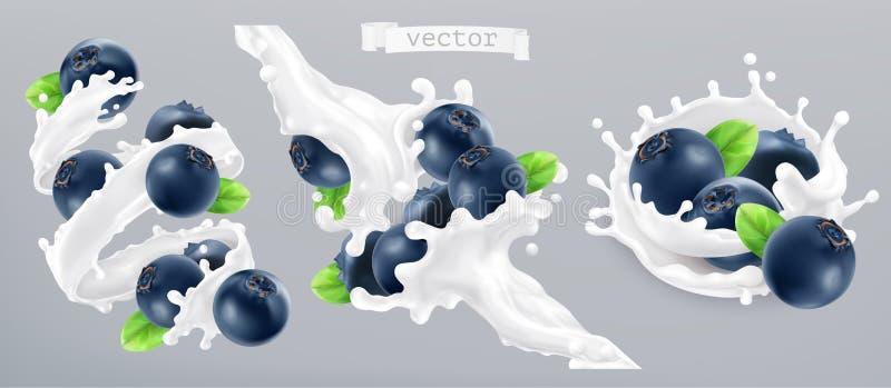Czarnej jagody i mleka pluśnięcie, jogurt 3d ikona wektor ilustracji