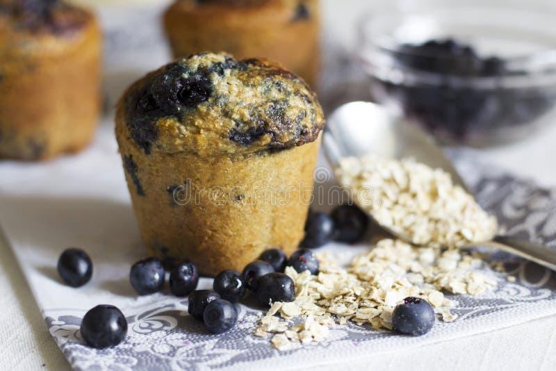 Czarnej jagody oatmeal muffins fotografia stock