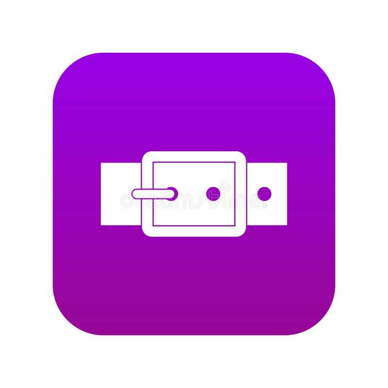 Czarnej klamra paska ikony cyfrowe purpury ilustracja wektor