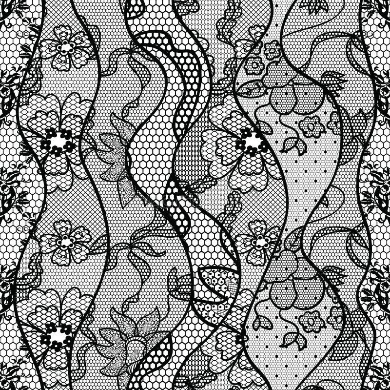 Czarnej koronkowej wektorowej tkaniny bezszwowy wzór ilustracji