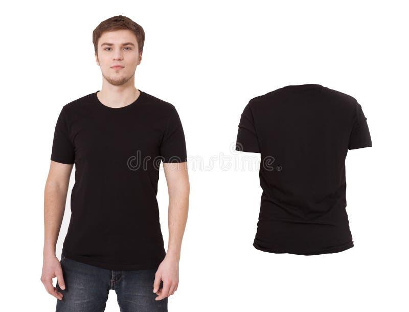 Czarnej koszula odosobniony tshirt na białym tle Frontowy i tylny widok koszulka Koszula ustawiać zdjęcie stock