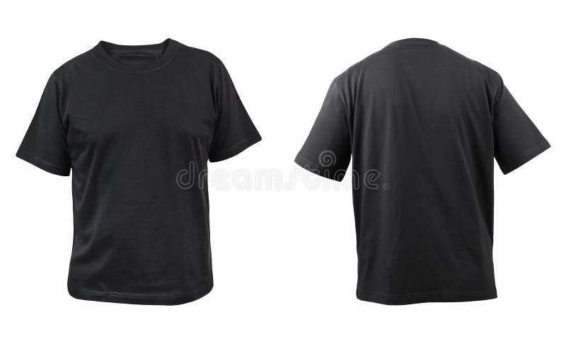 Czarnej koszulki frontowy i tylny widok. zdjęcia royalty free