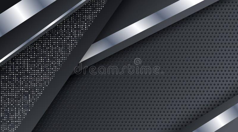 Czarnej Kruszcowej Srebnej technologii tła Korporacyjny szablon ilustracji