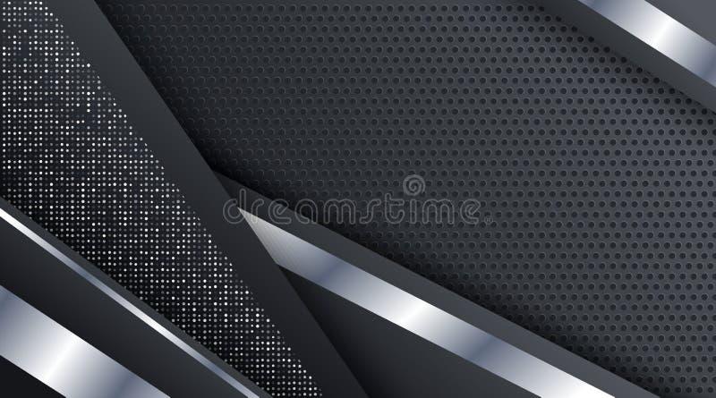 Czarnej Kruszcowej Srebnej technologii tła Korporacyjny szablon royalty ilustracja