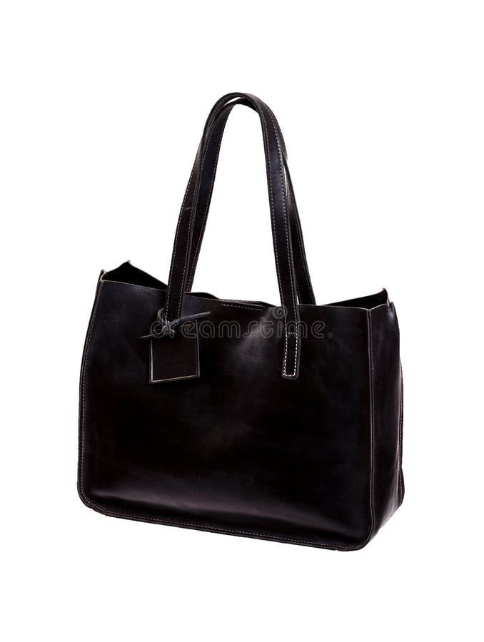 Czarnej matte tekstury rzemienna torba, odosobniona na białym tle obrazy stock