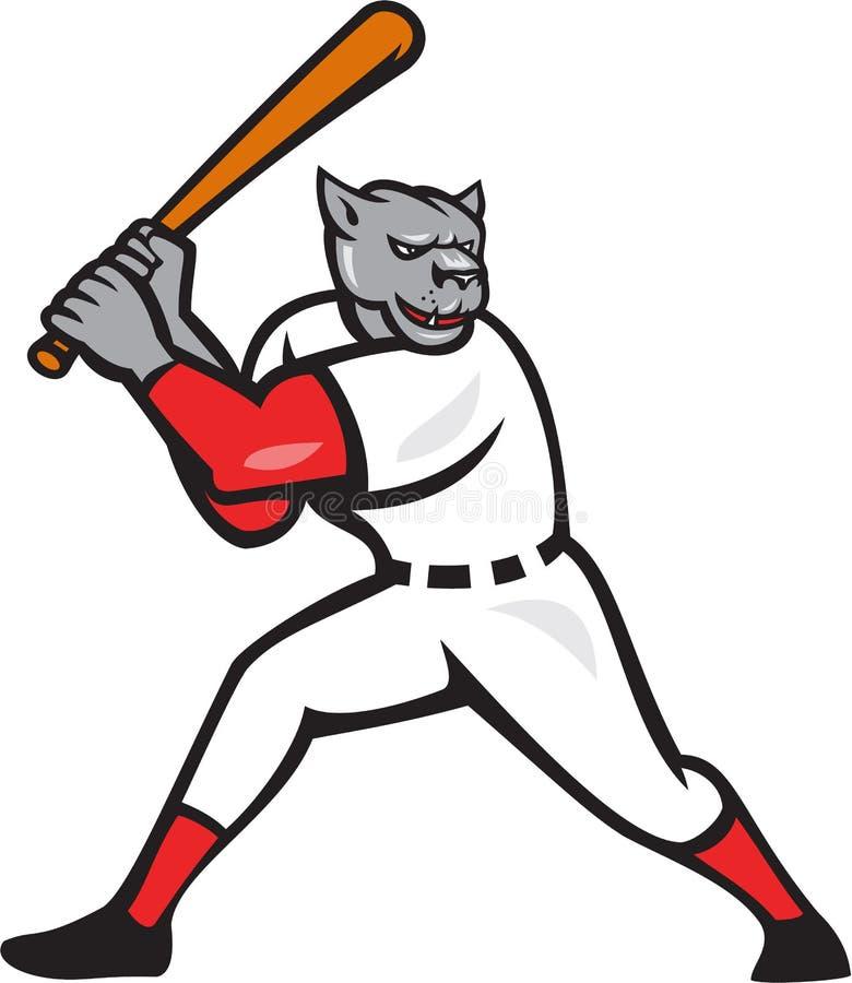 Czarnej pantery gracza baseballa uderzenie kijem Odizolowywający ilustracja wektor