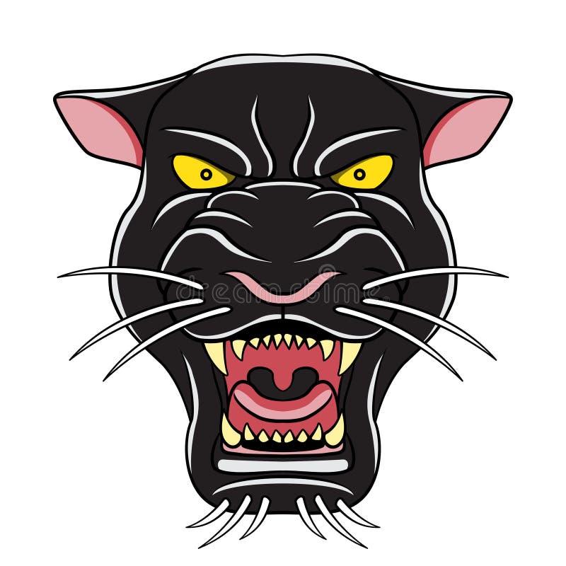 Czarnej pantery kreskówki głowy ilustracja royalty ilustracja