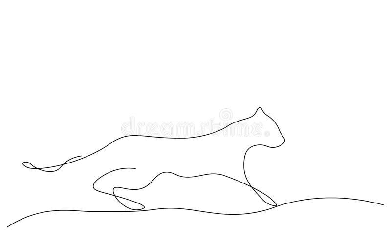 Czarnej pantery sylwetki żbika jeden kreskowego rysunku wektoru ilustracja royalty ilustracja