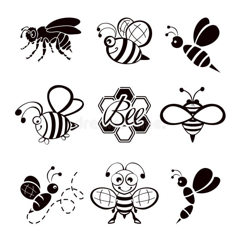 Czarnej pszczoły ikony ilustracja wektor