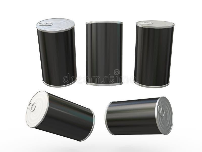 Czarnej pustej etykietki blaszana puszka pakuje z ciągnienie zakładką, ścinek ścieżka ilustracji