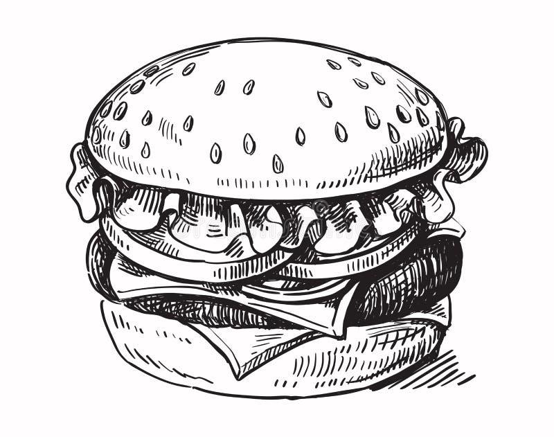 Czarnej ręki rysujący hamburger ilustracji