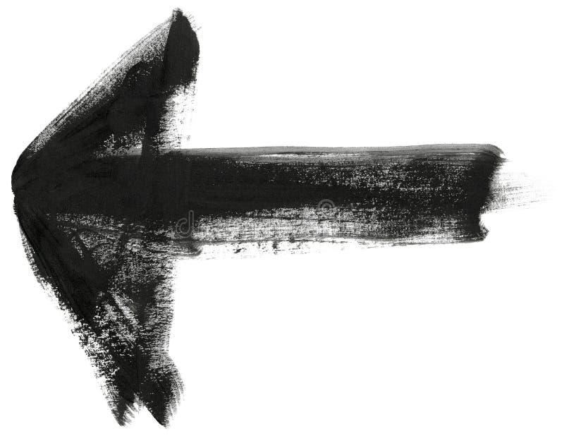Czarnej ręki uderzenia malująca szczotkarska strzała ilustracja wektor