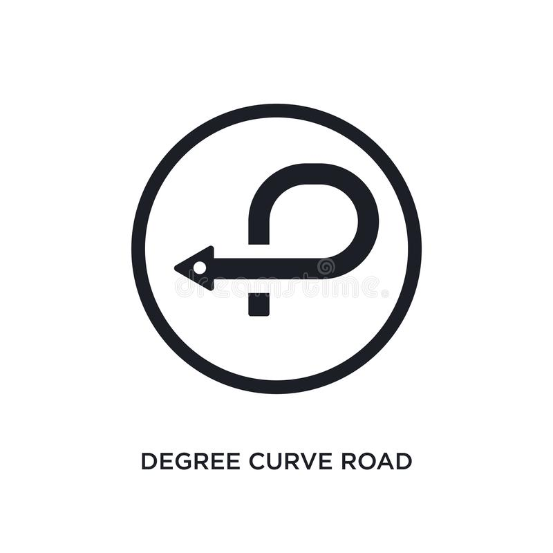 czarnej stopień krzywy drogi odosobniona wektorowa ikona prosta element ilustracja od ruch?w drogowych znak?w poj?cia wektoru iko ilustracja wektor