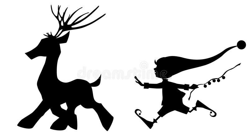 Czarnej sylwetki działający rogacz i śliczny Bożenarodzeniowy elf ilustracja wektor