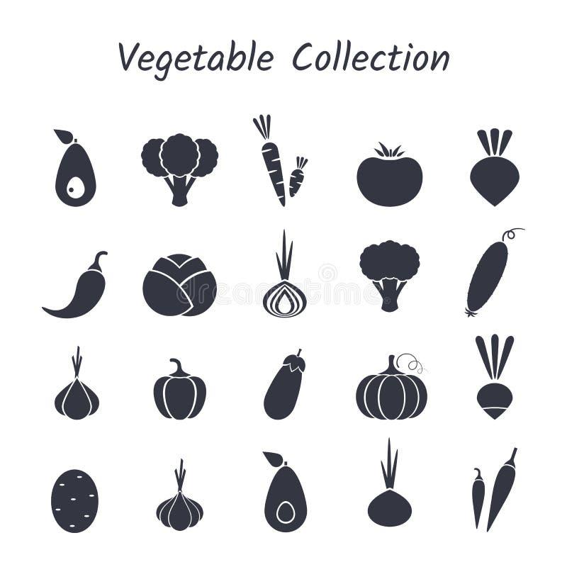 Czarnej sylwetki ikony odosobniony jarzynowy set ilustracji