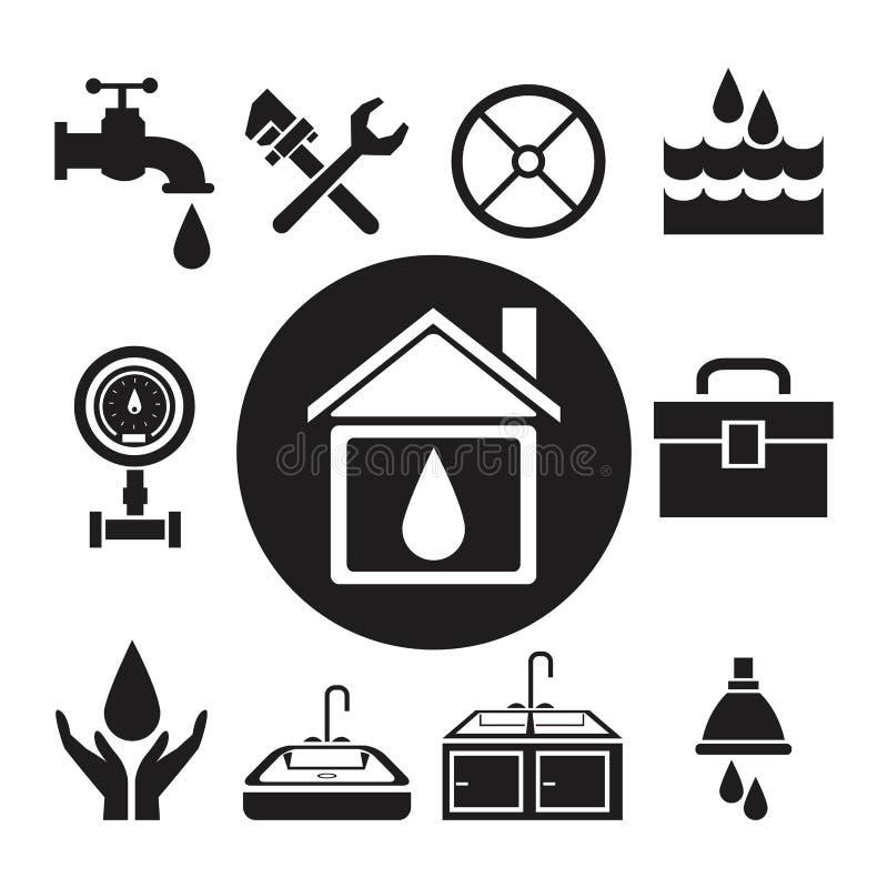 Czarnej sylwetki kółkowy ramowy dom z kroplą wśrodku i ikony instalaci wodnokanalizacyjnej narzędziami ilustracja wektor