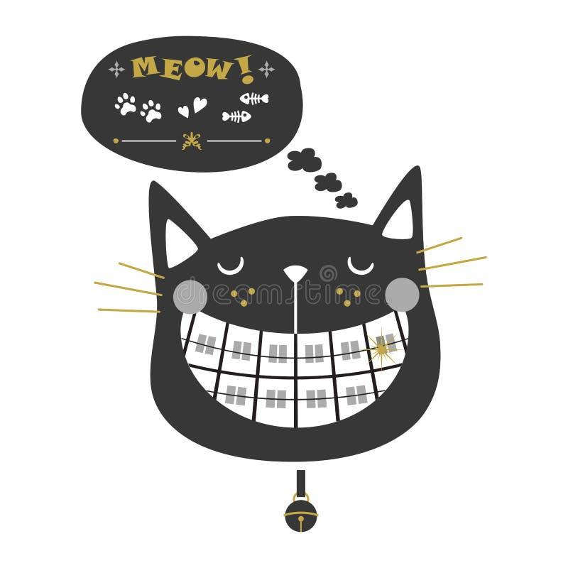 Czarnej sylwetki orthodontics kota śliczne roześmiane ikony z kołnierz mową i dzwonem gulgoczą ilustracja wektor