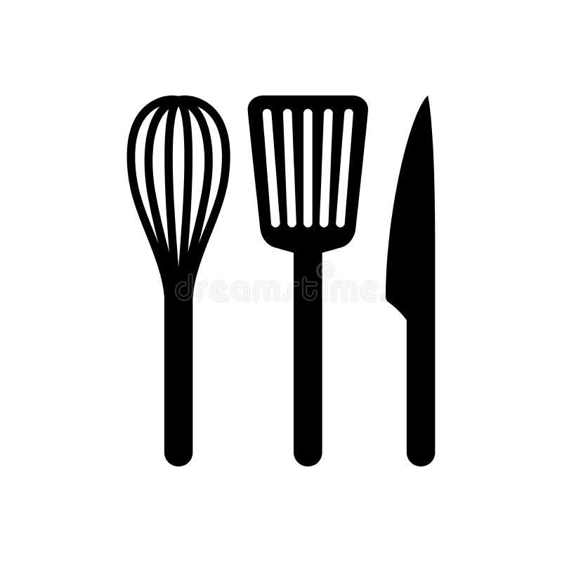 Czarnej sylwetki wektorowy śmignięcia, szpachelki i noża ikony set, ilustracji