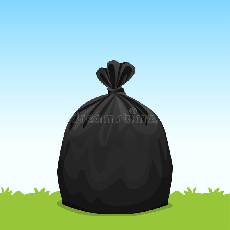 Czarnej torby plastikowy śmieci na trawy nieba tle, kosz torba, torby na śmiecie dla odpady, zanieczyszczenie plastikowego worka  royalty ilustracja