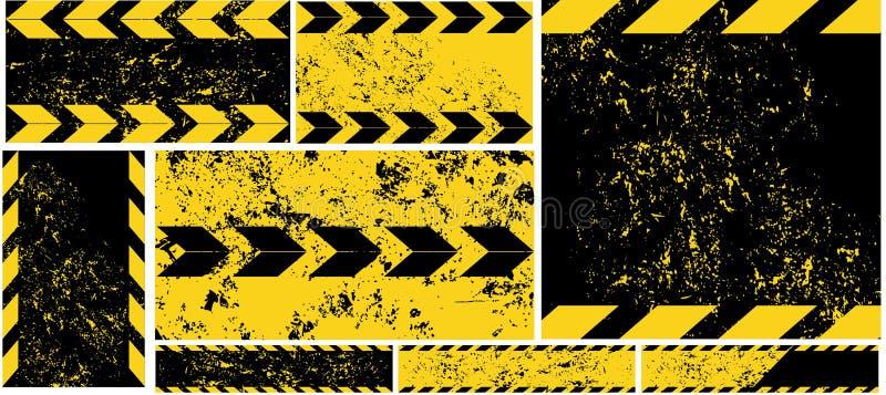 Czarni Żółci Drogowego znaka przekątny lampasy na Grunge tła samochodu horyzontalnej i pionowo sztandar drogi wzoru samochodu usł ilustracji