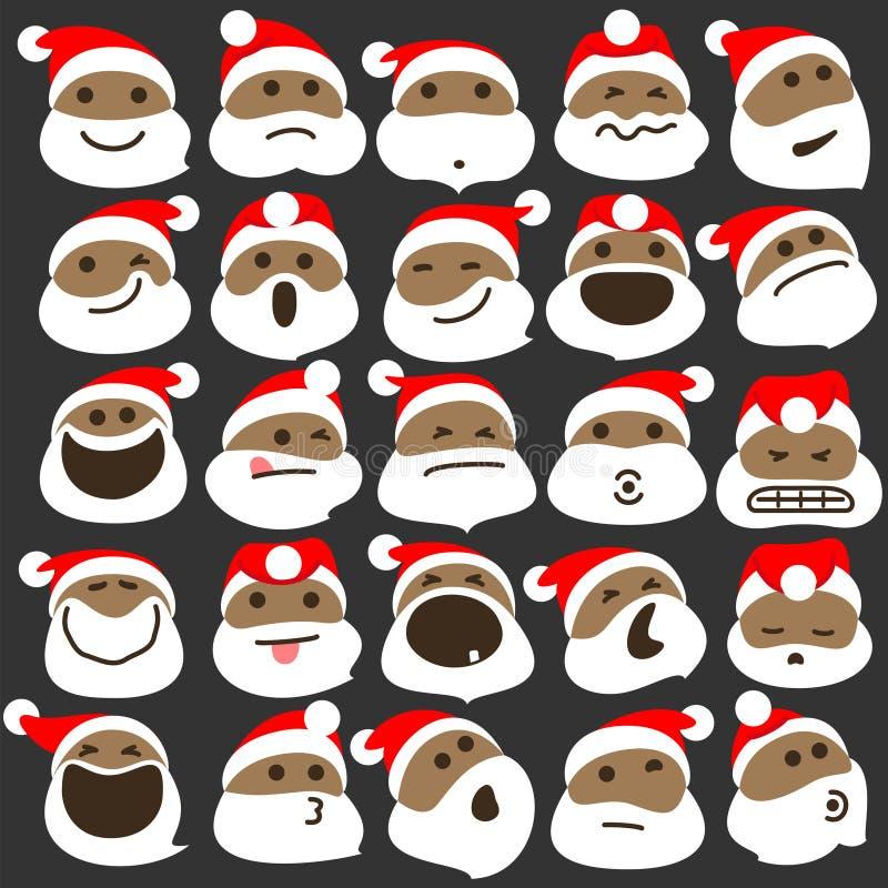 Czarni Święty Mikołaj bożych narodzeń Emoticons ilustracja wektor