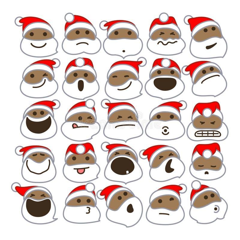 Czarni Święty Mikołaj bożych narodzeń Emoticons royalty ilustracja