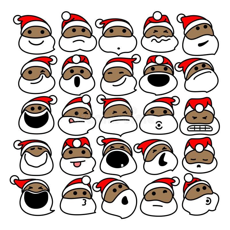 Czarni Święty Mikołaj bożych narodzeń Emoticons ilustracji