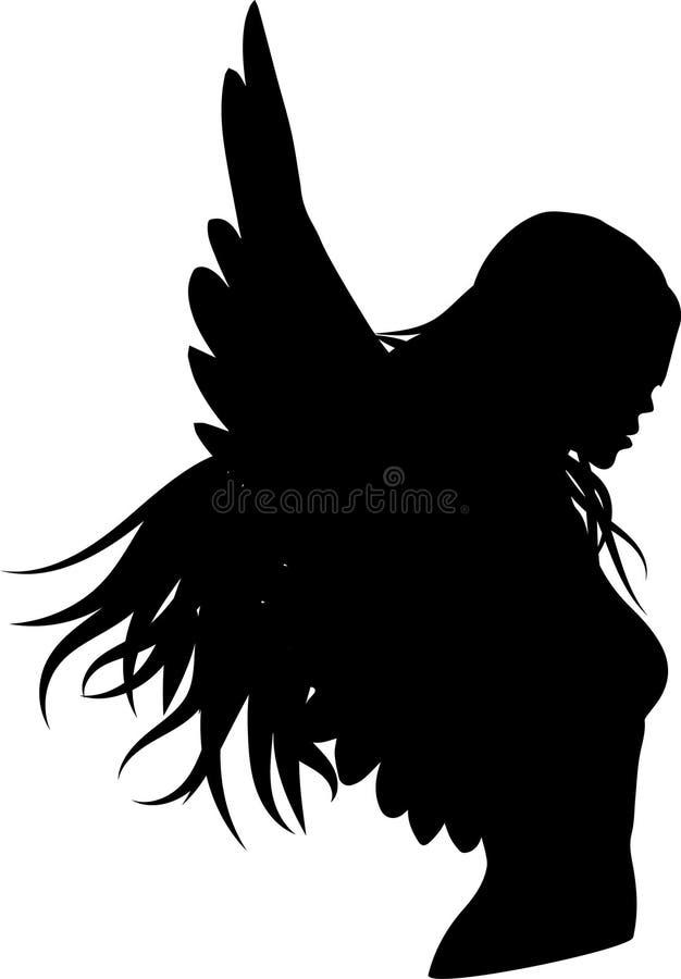 Czarni aniołów skrzydła, kobiety sylwetka ilustracja wektor