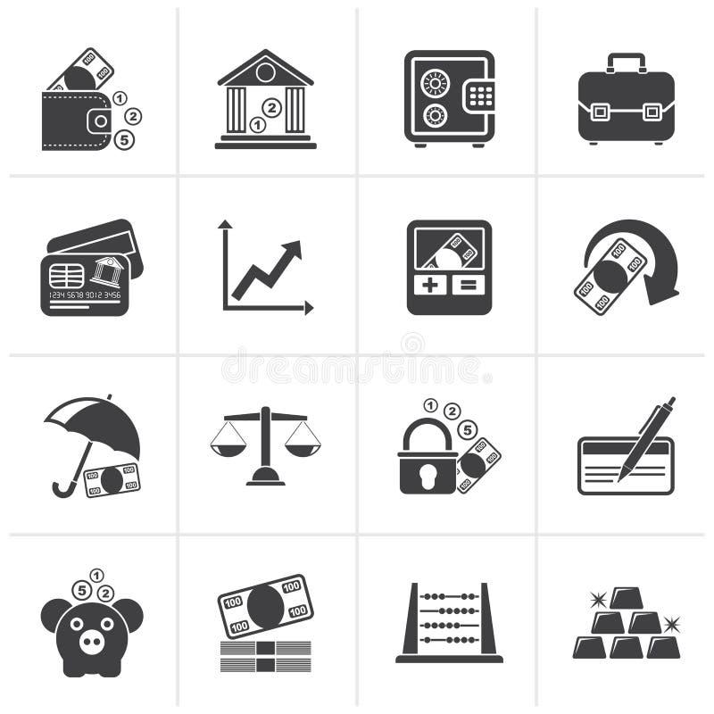 Czarni biznes, finanse i bank ikony, royalty ilustracja