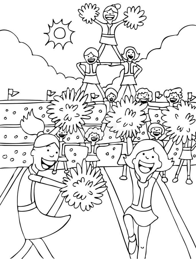 czarni cheerleaders biali royalty ilustracja