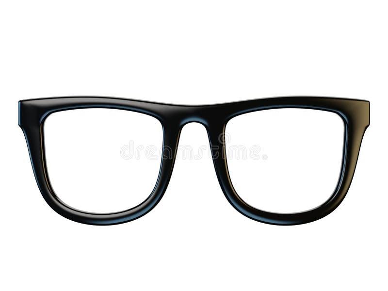 Czarni eyeglasses projektują element, szkła odizolowywający na białym tle, 3d rendering ilustracja wektor