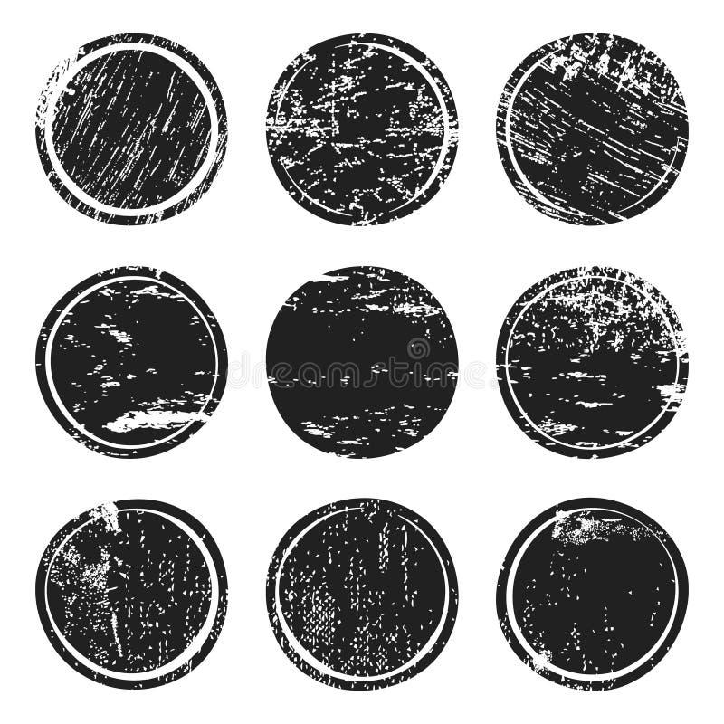 Czarni grunge tekstury okręgi ilustracji