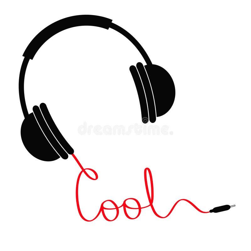 Czarni hełmofony z czerwonym sznurem w kształcie słowo cool Muzyki karta Płaski projekt Biały tło odosobniony ilustracja wektor