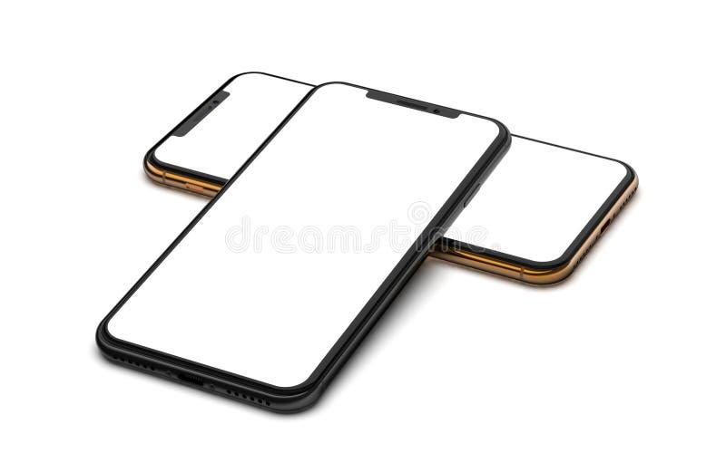 Czarni i złociści smartphones z pustym ekranem, odosobnionym na drewnianym tle ilustracja wektor