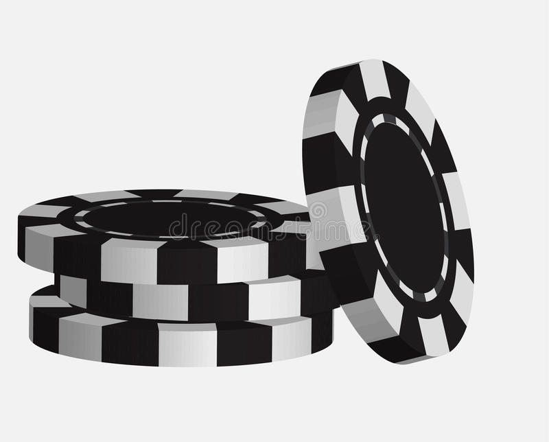 Czarni kasynowi żetony, odizolowywający na białym tle ilustracji