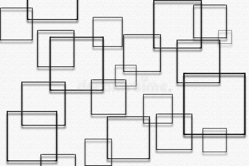 Czarni kwadraty na białym wzorzystym tle - cyfrowa graficzna abstrakcjonistyczna tapeta royalty ilustracja