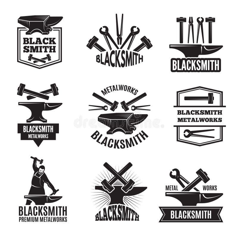 Czarni logowie dla blacksmith Rocznik Przylepiać etykietkę set royalty ilustracja