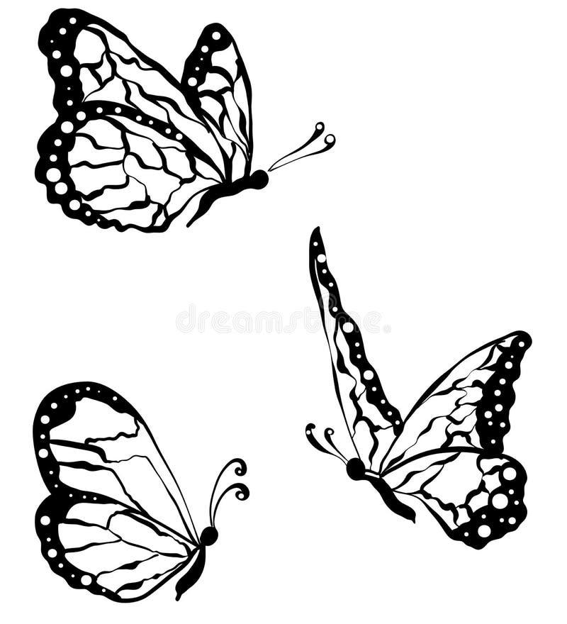 czarni motyle odizolowywający na białym tle, zakończenie ilustracja wektor