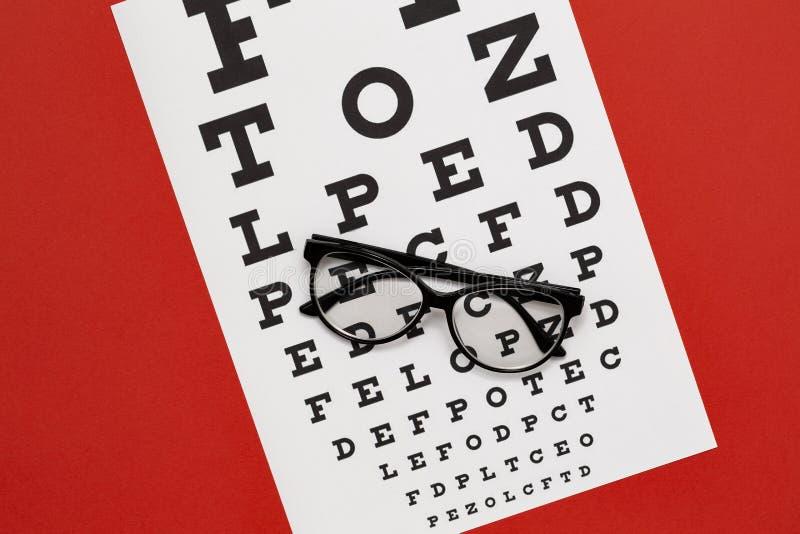 Czarni nowożytni oczu szkła na czerwonej tło odgórnego widoku kopii przestrzeni obraz stock