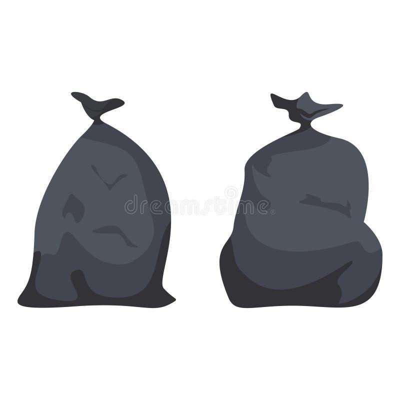 Czarni pełni pakunki z śmieci Plastikowi worki z odpadami, ściółka, banialuka ilustracji
