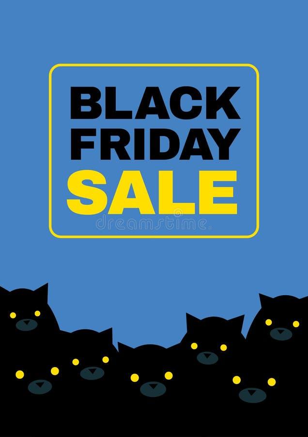 Czarni Piątków koty royalty ilustracja
