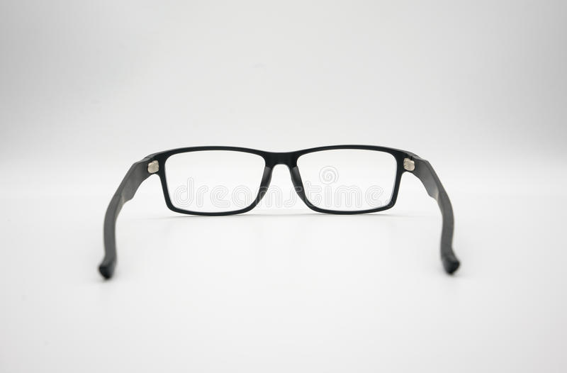 Czarni plastikowi szkła na białym tle lub odzież obraz stock