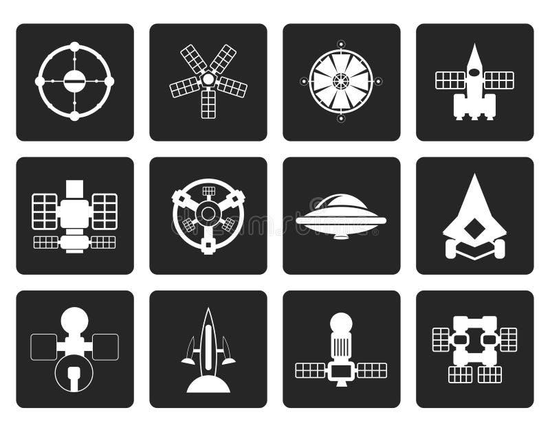 Czarni różni rodzaje przyszłościowe statek kosmiczny ikony royalty ilustracja