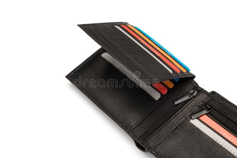 Czarni Rzemienni Kredytowi Karciani właściciele zdjęcie stock