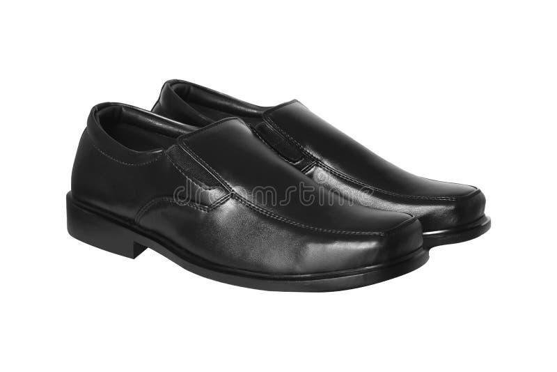 Czarni rzemienni mężczyzna ` s buty odizolowywający na białym tle zdjęcia royalty free
