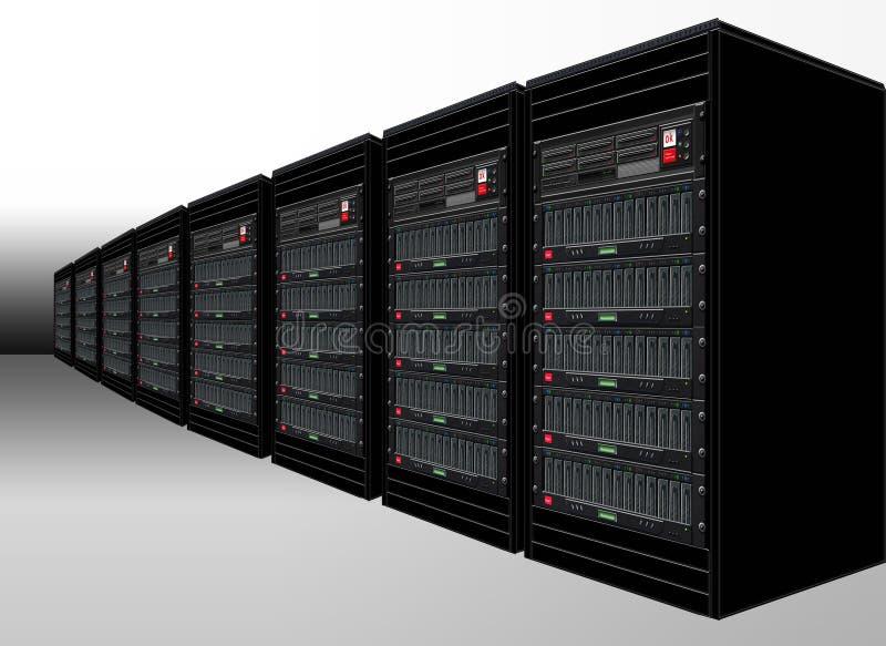 czarni serwerów komputerowych ilustracji