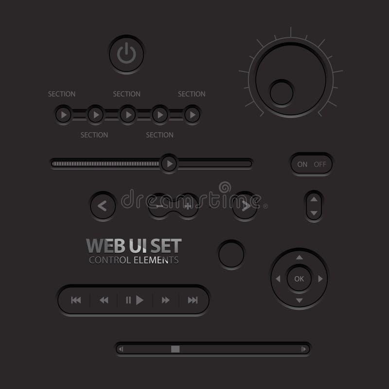 Czarni sieci UI elementy. Guziki, zmiany royalty ilustracja